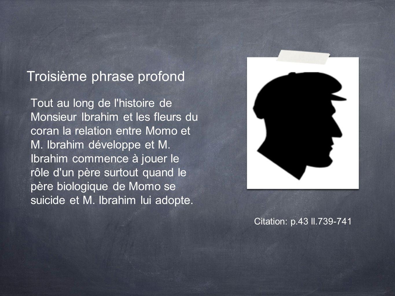 Troisième phrase profond Tout au long de l histoire de Monsieur Ibrahim et les fleurs du coran la relation entre Momo et M.