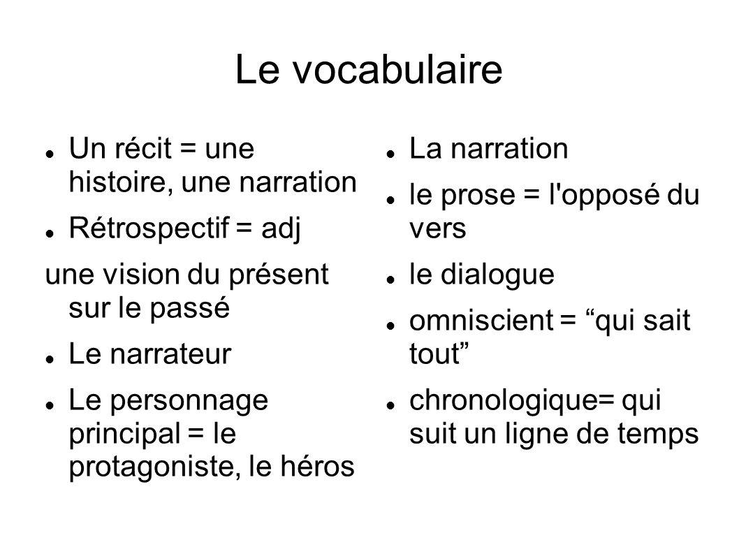 Le vocabulaire Un récit = une histoire, une narration Rétrospectif = adj une vision du présent sur le passé Le narrateur Le personnage principal = le