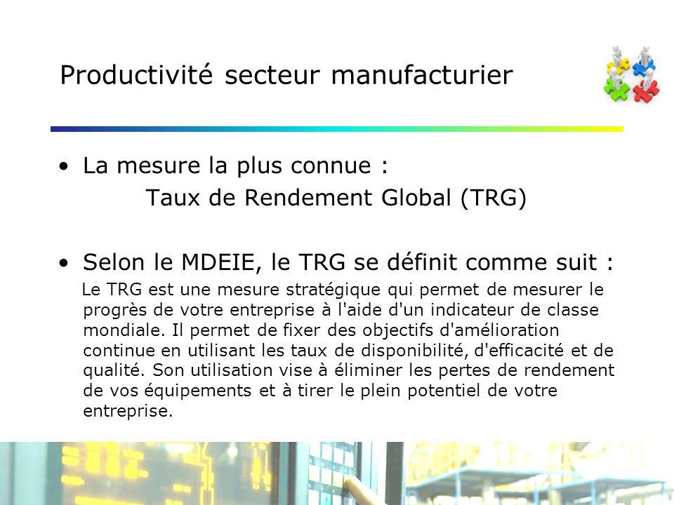 Productivité secteur manufacturier La mesure la plus connue : Taux de Rendement Global (TRG) Selon le MDEIE, le TRG se définit comme suit : Le TRG est une mesure stratégique qui permet de mesurer le progrès de votre entreprise à l aide d un indicateur de classe mondiale.
