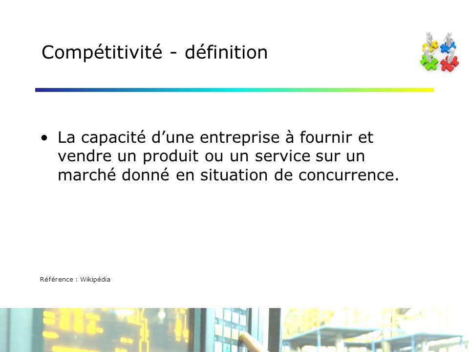 Compétitivité - définition La capacité dune entreprise à fournir et vendre un produit ou un service sur un marché donné en situation de concurrence.