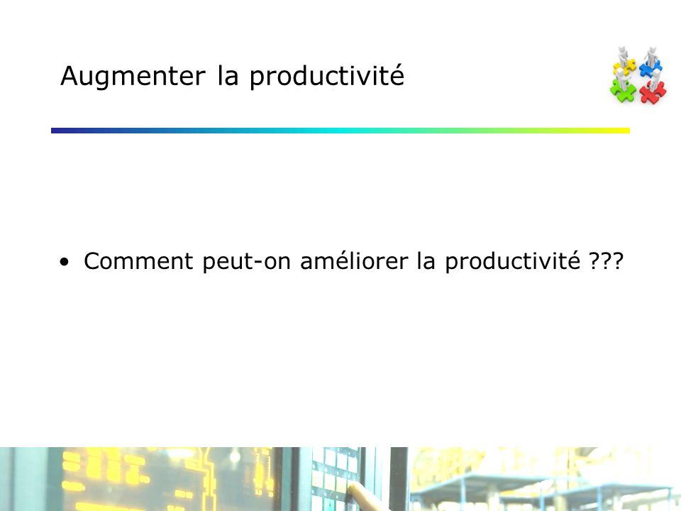 Augmenter la productivité Comment peut-on améliorer la productivité ???