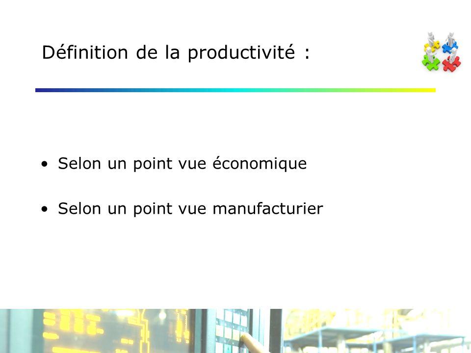 Définition de la productivité : Selon un point vue économique Selon un point vue manufacturier