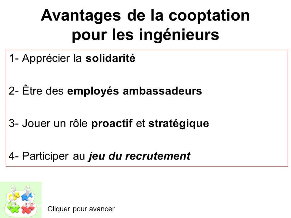 Avantages de la cooptation pour les patrons Partage du boulot avec leurs employés ambassadeurs Réduction du temps et des coûts pour la recherche de ta