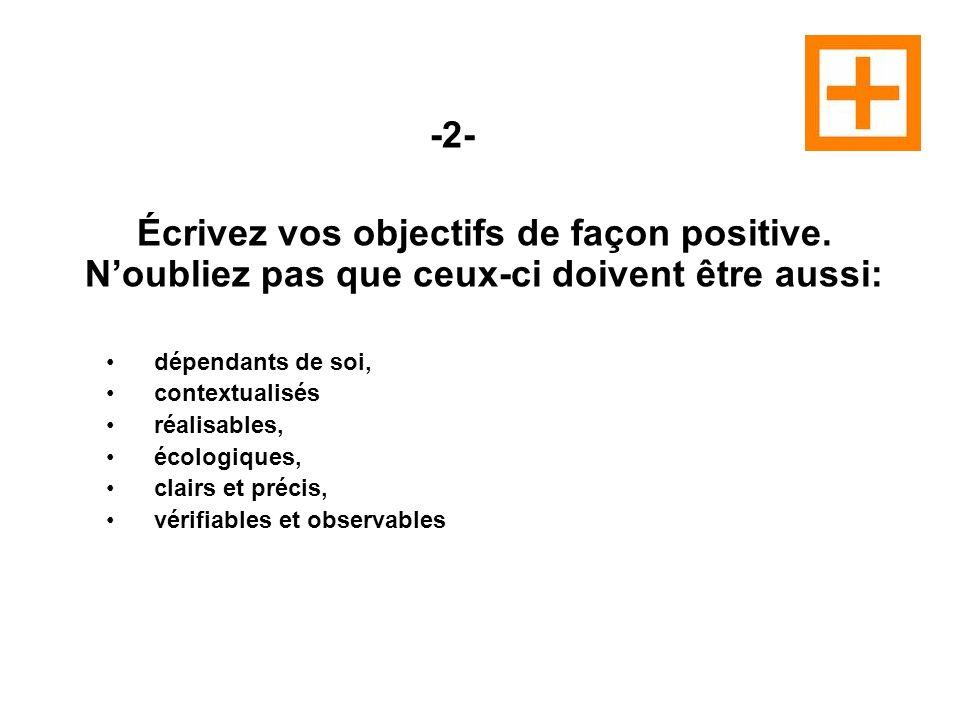 -2- Écrivez vos objectifs de façon positive.