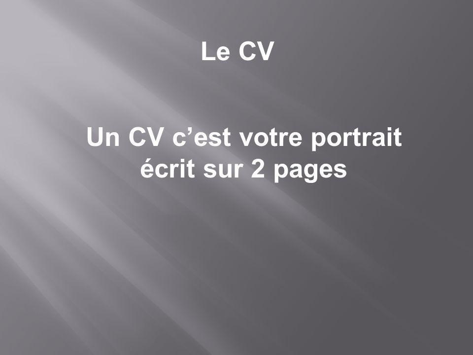 Un CV cest votre portrait écrit sur 2 pages Le CV