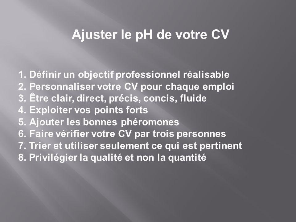 1.Définir un objectif professionnel réalisable 2.Personnaliser votre CV pour chaque emploi 3.Être clair, direct, précis, concis, fluide 4.Exploiter vo