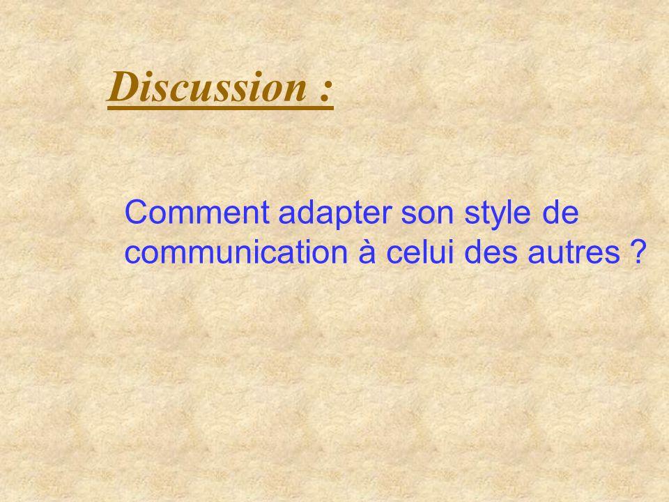 Style 1 : Communication avec une personne tournée vers lAction : Mettre dabord laction sur les résultats Préparer la meilleure recommandation Être aussi bref que possible Souligner le caractère pratique des idées énoncées Utiliser des moyens visuels