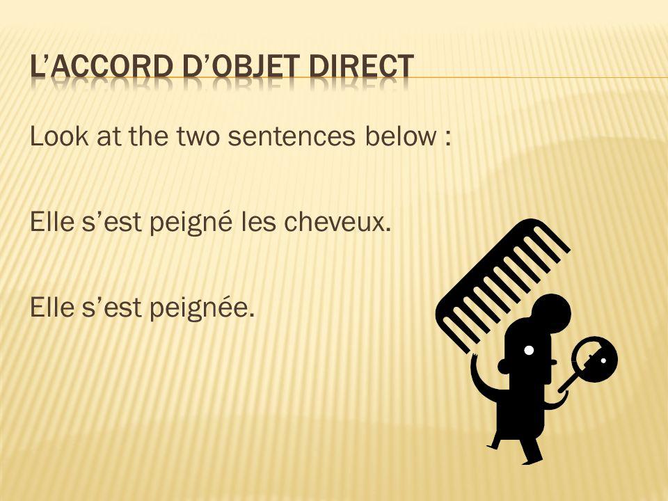 Look at the two sentences below : Elle sest peigné les cheveux. Elle sest peignée.