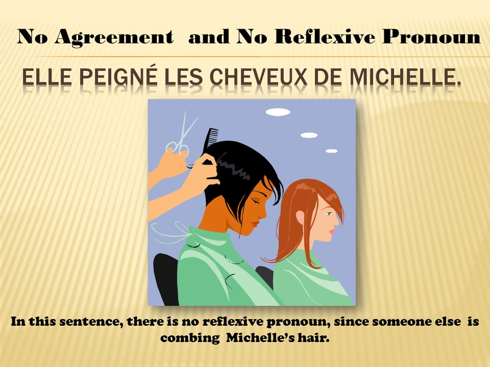 No Agreement and No Reflexive Pronoun In this sentence, there is no reflexive pronoun, since someone else is combing Michelles hair.