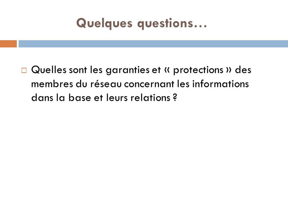 Quelques questions… Quelles sont les garanties et « protections » des membres du réseau concernant les informations dans la base et leurs relations ?