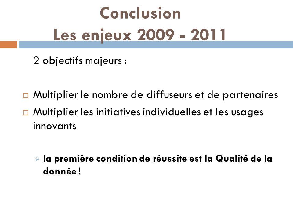 Conclusion Les enjeux 2009 - 2011 2 objectifs majeurs : Multiplier le nombre de diffuseurs et de partenaires Multiplier les initiatives individuelles et les usages innovants la première condition de réussite est la Qualité de la donnée !