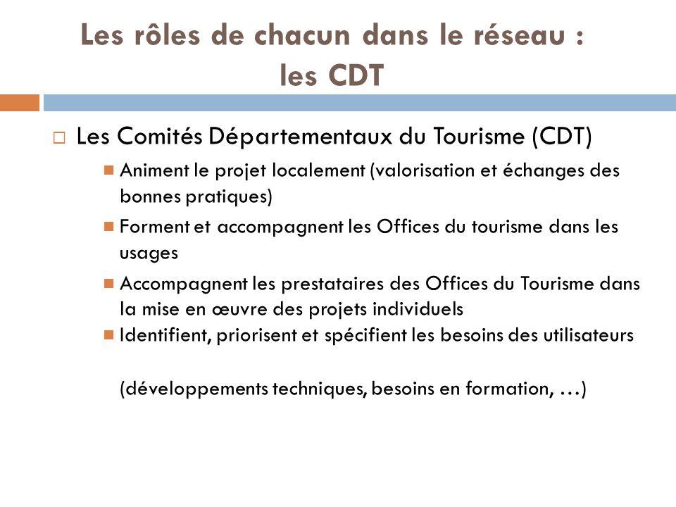 Les rôles de chacun dans le réseau : les CDT Les Comités Départementaux du Tourisme (CDT) Animent le projet localement (valorisation et échanges des bonnes pratiques) Forment et accompagnent les Offices du tourisme dans les usages Accompagnent les prestataires des Offices du Tourisme dans la mise en œuvre des projets individuels Identifient, priorisent et spécifient les besoins des utilisateurs (développements techniques, besoins en formation, …)