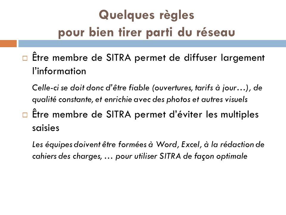 Quelques règles pour bien tirer parti du réseau Être membre de SITRA permet de diffuser largement linformation Celle-ci se doit donc dêtre fiable (ouvertures, tarifs à jour…), de qualité constante, et enrichie avec des photos et autres visuels Être membre de SITRA permet déviter les multiples saisies Les équipes doivent être formées à Word, Excel, à la rédaction de cahiers des charges, … pour utiliser SITRA de façon optimale