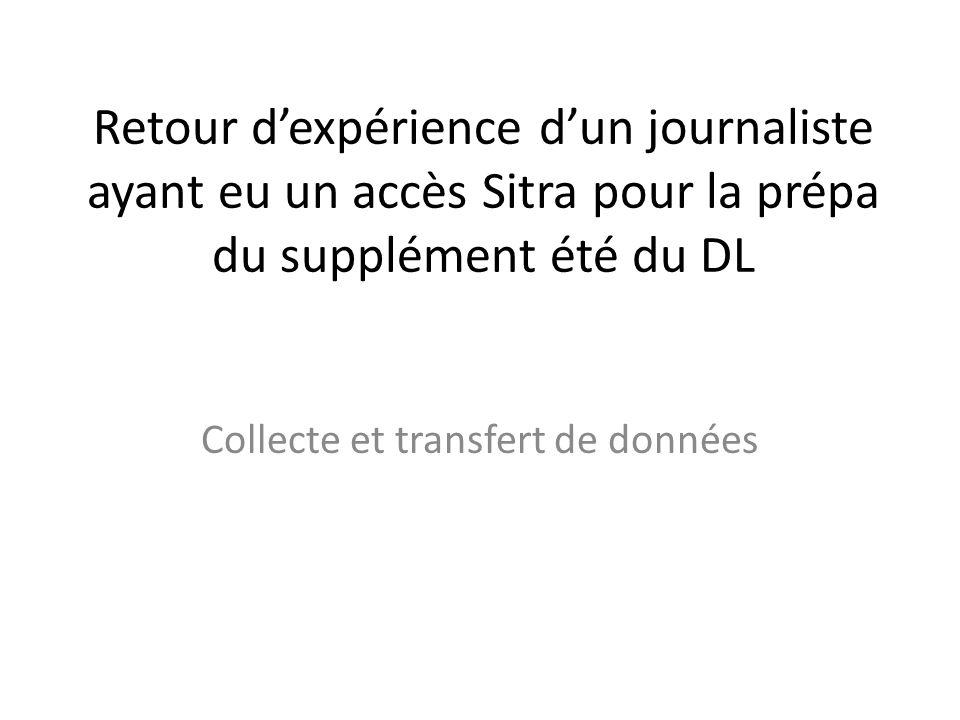 Retour dexpérience dun journaliste ayant eu un accès Sitra pour la prépa du supplément été du DL Collecte et transfert de données