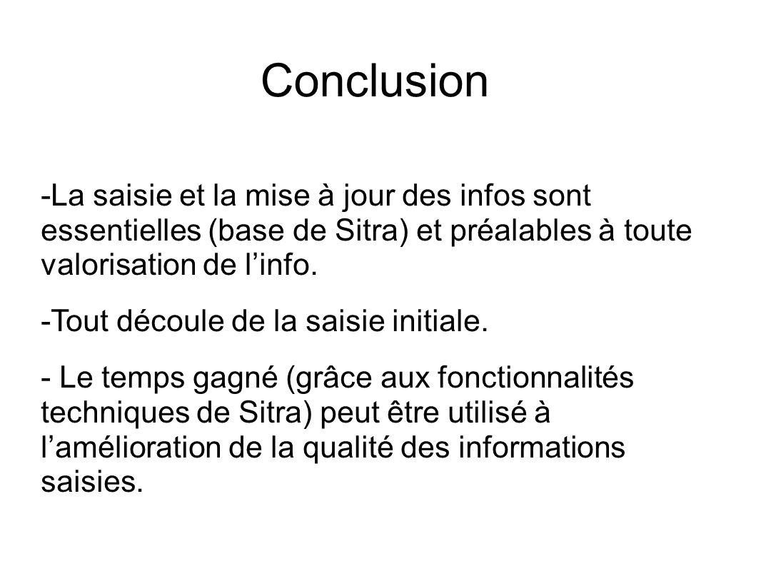 Conclusion -La saisie et la mise à jour des infos sont essentielles (base de Sitra) et préalables à toute valorisation de linfo.