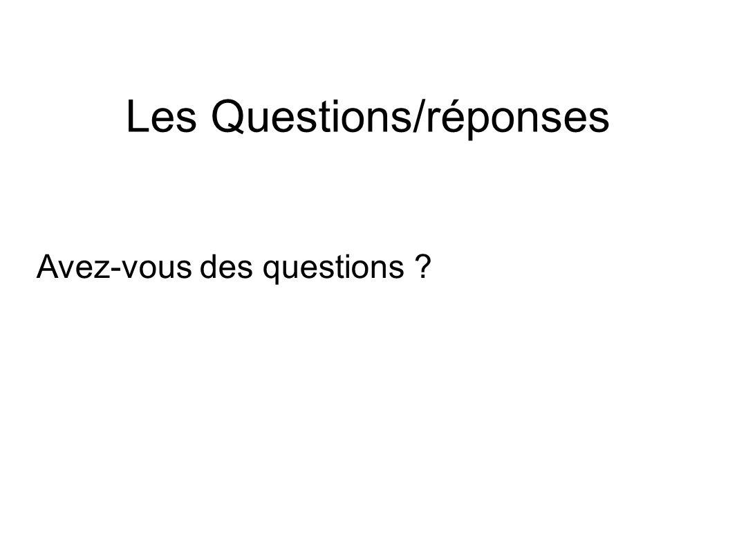 Les Questions/réponses Avez-vous des questions