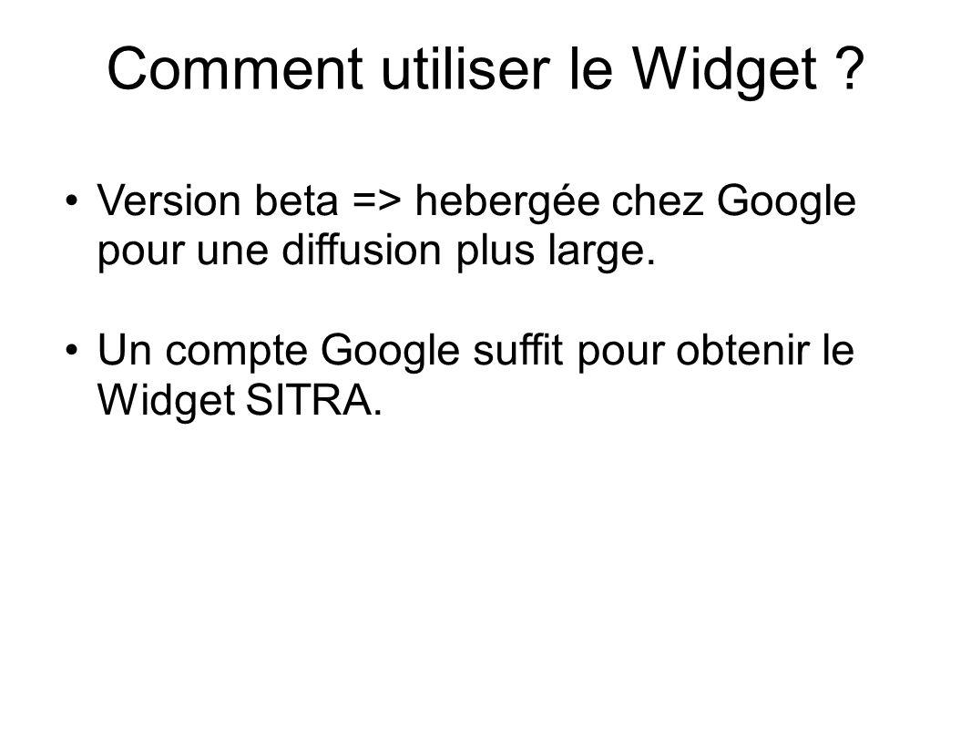 Comment utiliser le Widget . Version beta => hebergée chez Google pour une diffusion plus large.