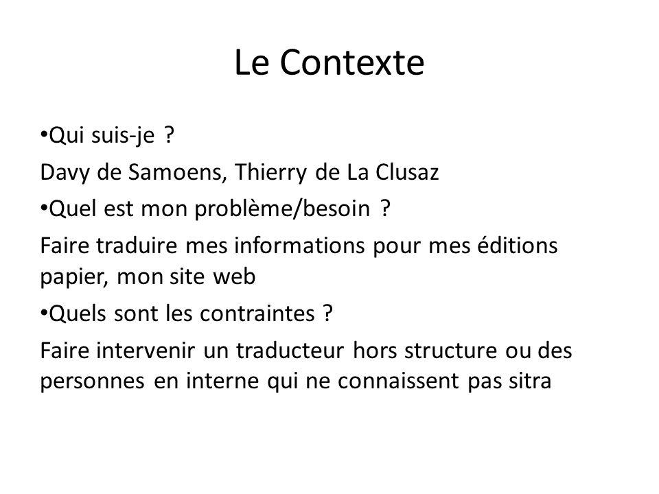 Le Contexte Qui suis-je . Davy de Samoens, Thierry de La Clusaz Quel est mon problème/besoin .