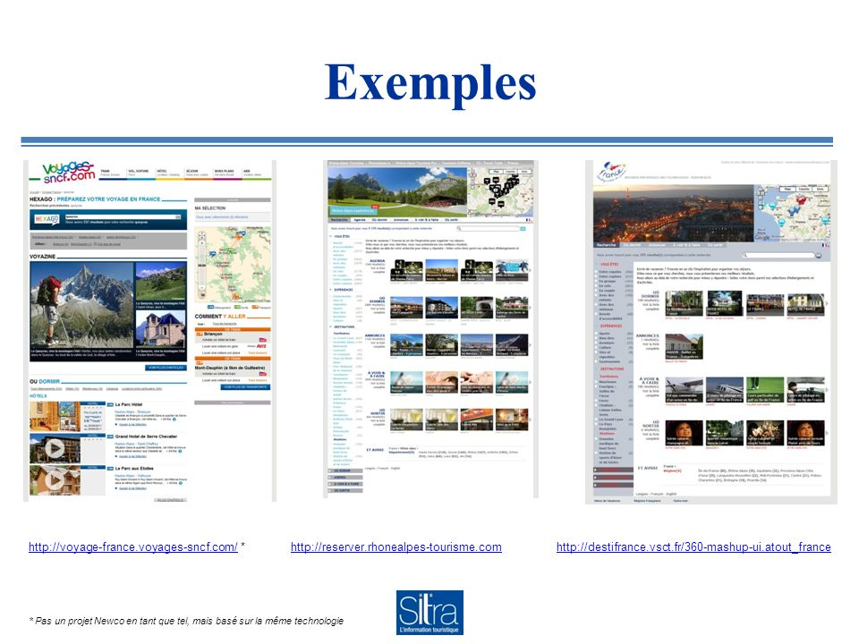 Le contenu Aujourdhui : Reservit, Abritel, Travelhorizon, Happytime, Octopode, SITRA En cours : Expedia, Ctoutvert, Alliance Réseaux, FNAIM, ViaFrance… Contenu éditorial : Rhône-Alpes Tourisme.com, RhoneAlpes.tv
