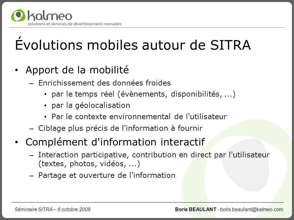 Séminaire SITRA – 6 octobre 2008 Boris BEAULANT - boris.beaulant@kalmeo.com Évolutions mobiles autour de SITRA Apport de la mobilité – Enrichissement