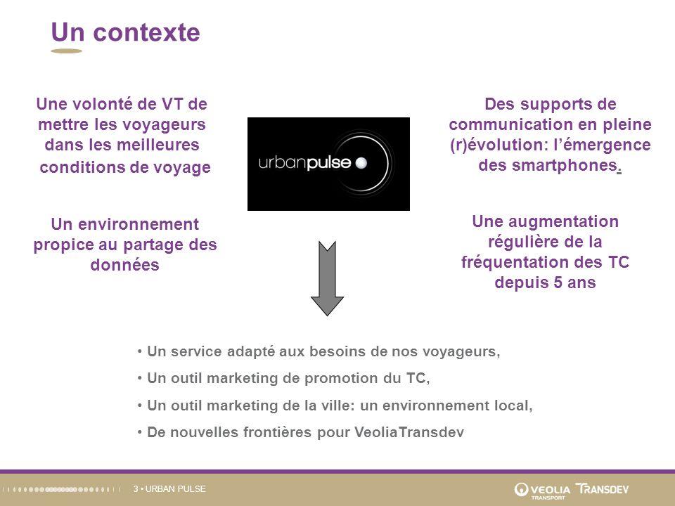 URBAN PULSE3 Un contexte Des supports de communication en pleine (r)évolution: lémergence des smartphones.. Un environnement propice au partage des do