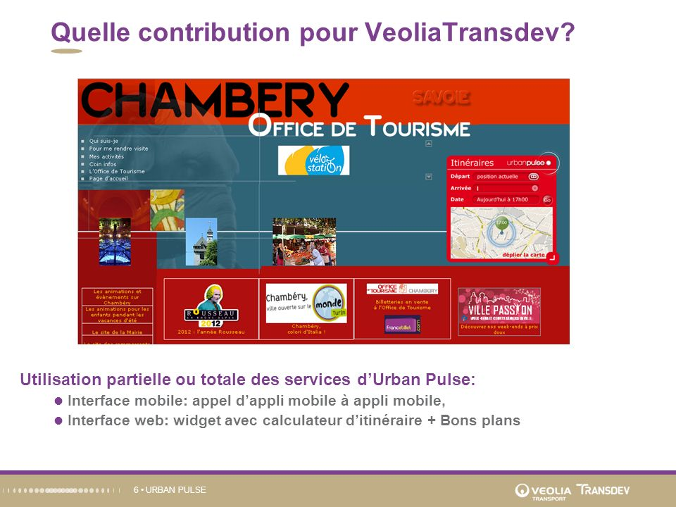 URBAN PULSE6 Quelle contribution pour VeoliaTransdev.