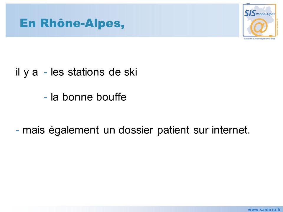 www.sante-ra.fr En Rhône-Alpes, il y a - les stations de ski - la bonne bouffe - mais également un dossier patient sur internet.