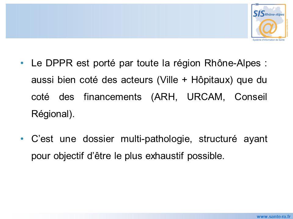 www.sante-ra.fr Le DPPR est porté par toute la région Rhône-Alpes : aussi bien coté des acteurs (Ville + Hôpitaux) que du coté des financements (ARH, URCAM, Conseil Régional).