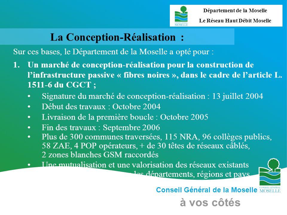 Conseil Général de la Moselle à vos côtés La Conception-Réalisation : Sur ces bases, le Département de la Moselle a opté pour : 1.Un marché de concept