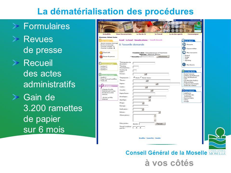 Conseil Général de la Moselle à vos côtés La dématérialisation des procédures Formulaires Revues de presse Recueil des actes administratifs Gain de 3.