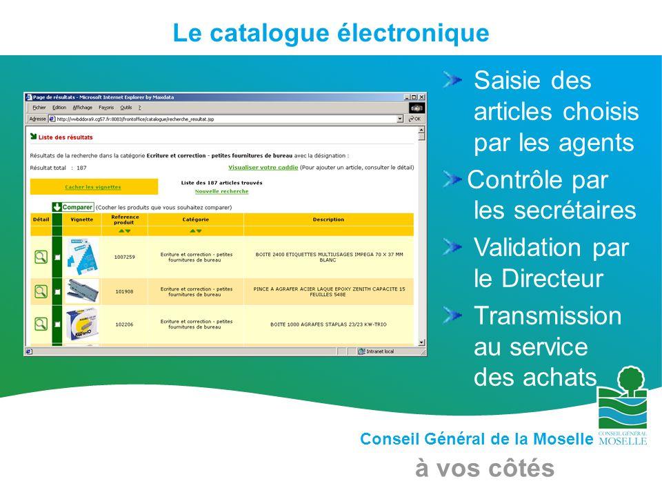 Conseil Général de la Moselle à vos côtés Le catalogue électronique Saisie des articles choisis par les agents Contrôle par les secrétaires Validation