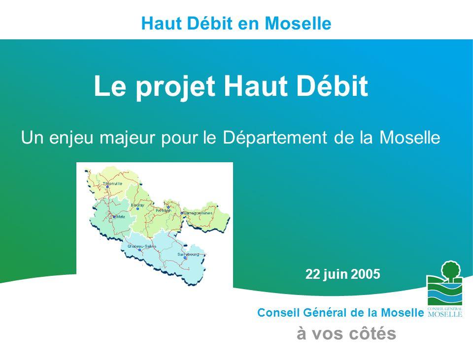 Conseil Général de la Moselle à vos côtés Haut Débit en Moselle 22 juin 2005 Le projet Haut Débit Un enjeu majeur pour le Département de la Moselle