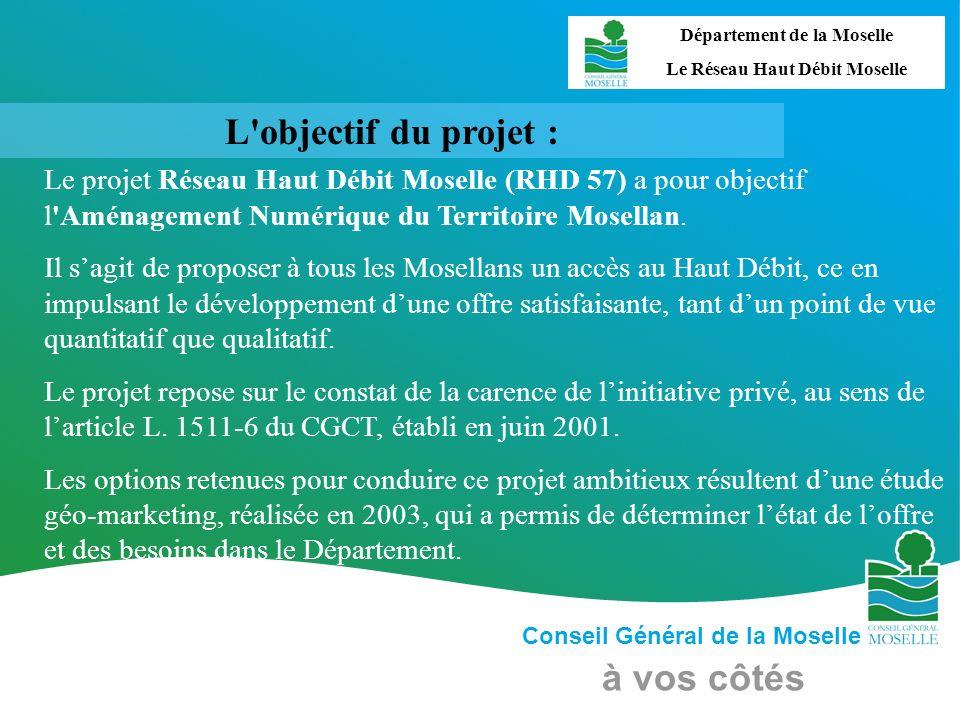 Conseil Général de la Moselle à vos côtés L'objectif du projet : Le projet Réseau Haut Débit Moselle (RHD 57) a pour objectif l'Aménagement Numérique
