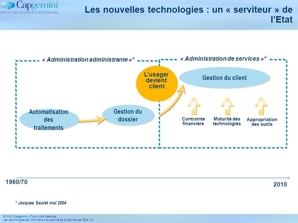 © 2004 Capgemini – Tous droits réservés Les technologies de linformation au service de la réforme de lEtat – 2 Les nouvelles technologies : un « servi