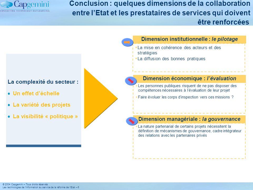 © 2004 Capgemini – Tous droits réservés Les technologies de linformation au service de la réforme de lEtat – 6 Conclusion : quelques dimensions de la
