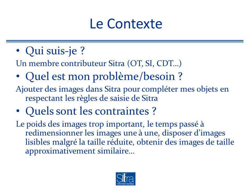 Le Contexte Qui suis-je ? Un membre contributeur Sitra (OT, SI, CDT…) Quel est mon problème/besoin ? Ajouter des images dans Sitra pour compléter mes