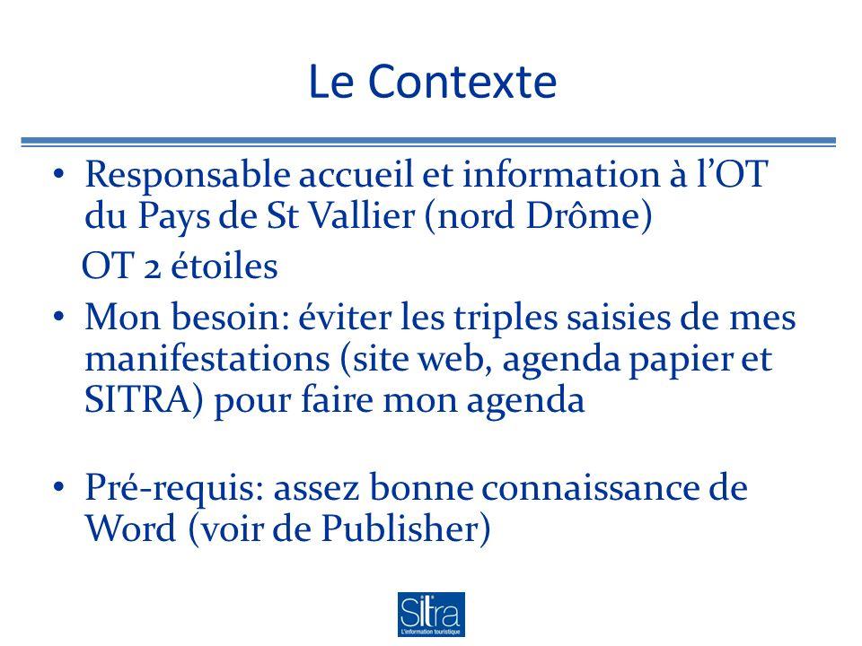 Le Contexte Responsable accueil et information à lOT du Pays de St Vallier (nord Drôme) OT 2 étoiles Mon besoin: éviter les triples saisies de mes man