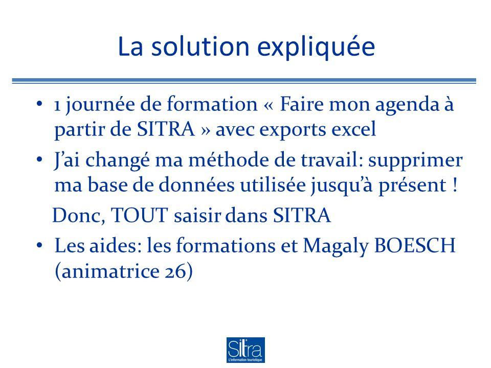 La solution expliquée 1 journée de formation « Faire mon agenda à partir de SITRA » avec exports excel Jai changé ma méthode de travail: supprimer ma base de données utilisée jusquà présent .