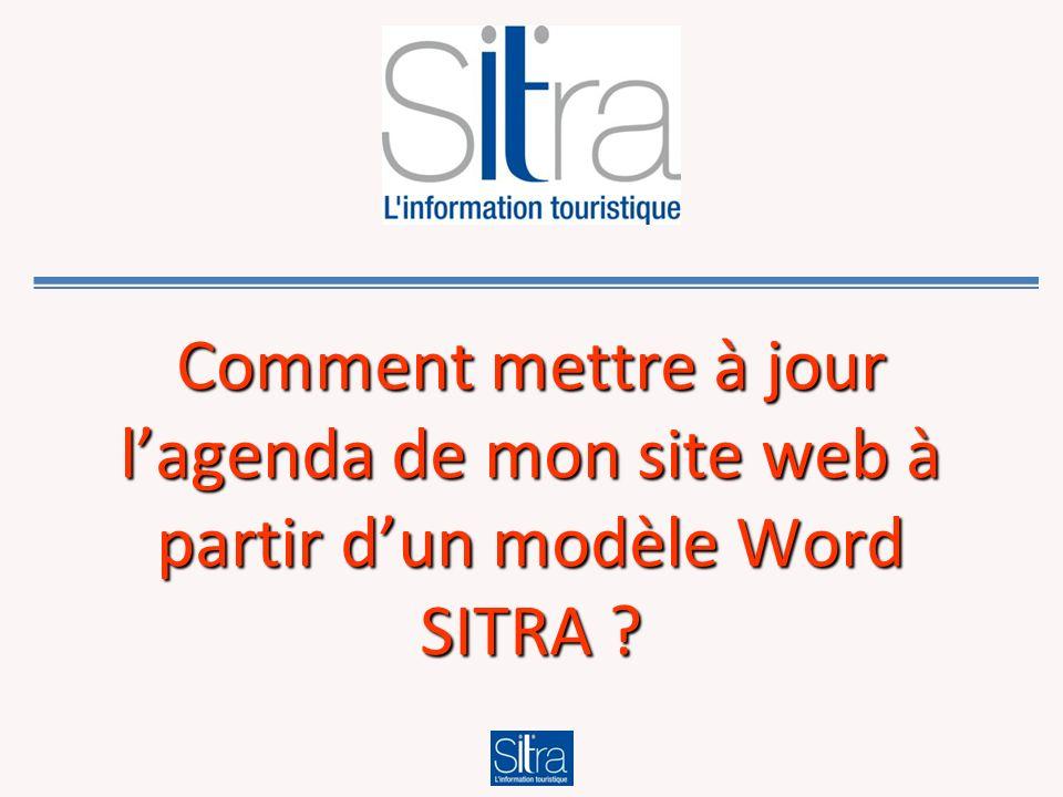 Comment mettre à jour lagenda de mon site web à partir dun modèle Word SITRA ?