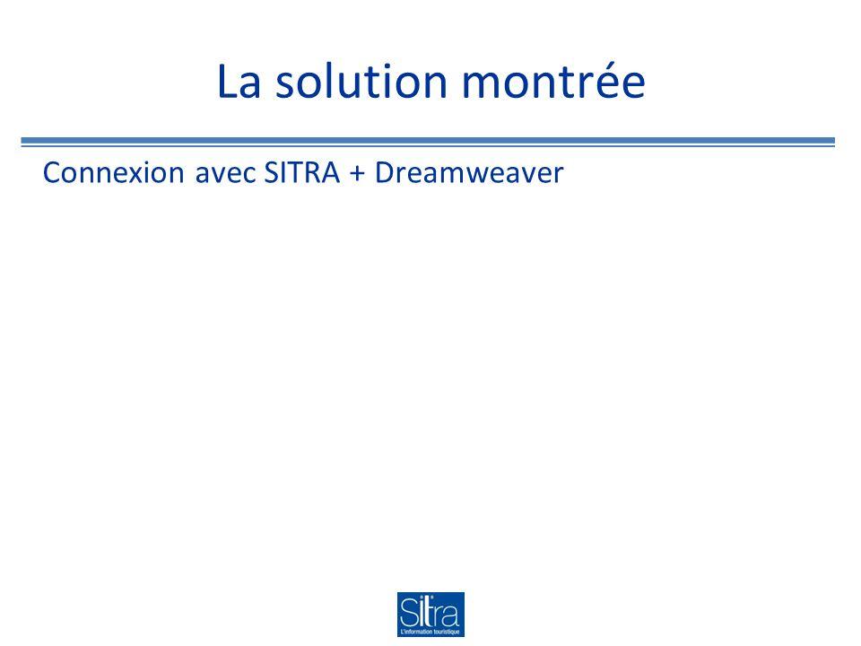 La solution montrée Connexion avec SITRA + Dreamweaver