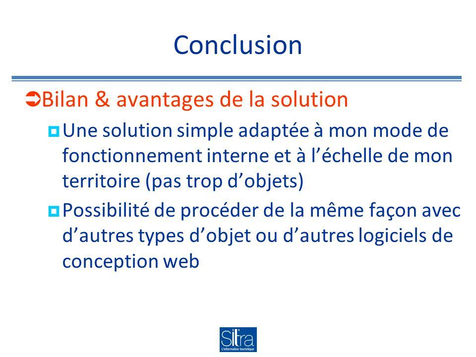 Conclusion Bilan & avantages de la solution Une solution simple adaptée à mon mode de fonctionnement interne et à léchelle de mon territoire (pas trop dobjets) Possibilité de procéder de la même façon avec dautres types dobjet ou dautres logiciels de conception web