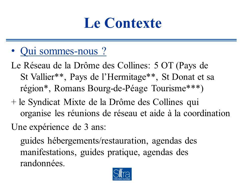 Le Contexte Qui sommes-nous ? Le Réseau de la Drôme des Collines: 5 OT (Pays de St Vallier**, Pays de lHermitage**, St Donat et sa région*, Romans Bou