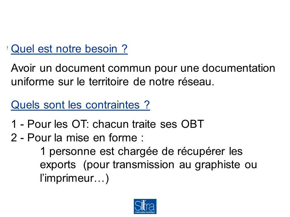 Quel est notre besoin ? Avoir un document commun pour une documentation uniforme sur le territoire de notre réseau. Quels sont les contraintes ? 1 - P
