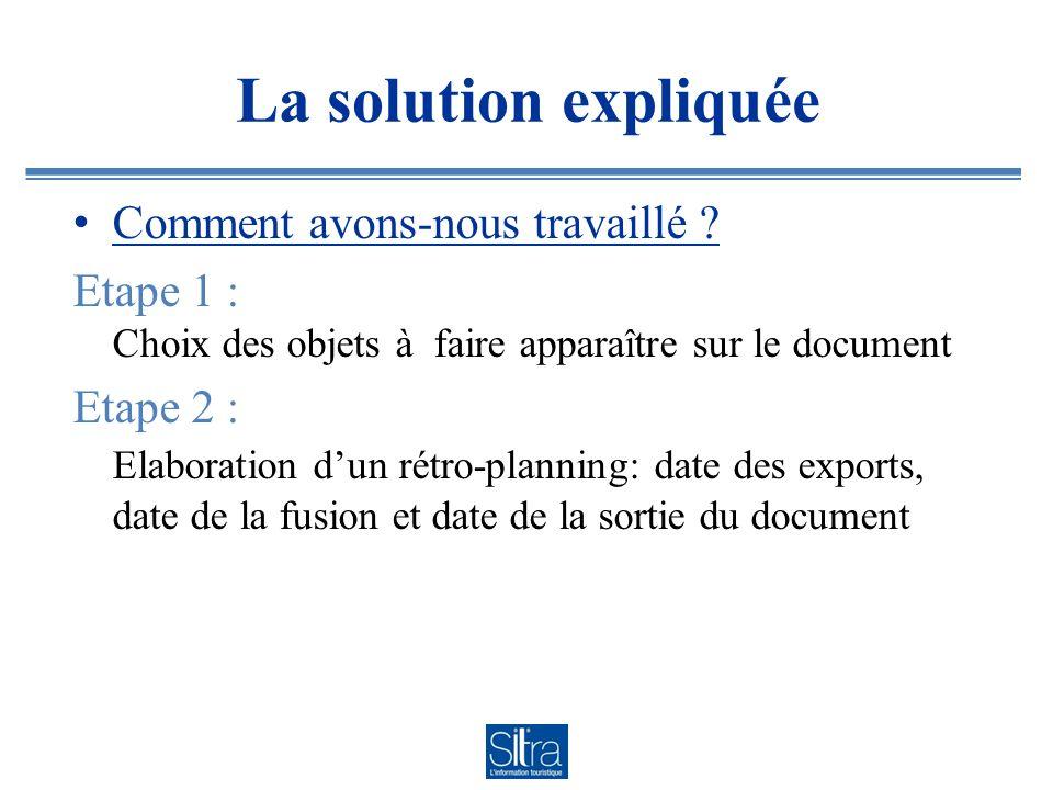 La solution expliquée Comment avons-nous travaillé ? Etape 1 : Choix des objets à faire apparaître sur le document Etape 2 : Elaboration dun rétro-pla