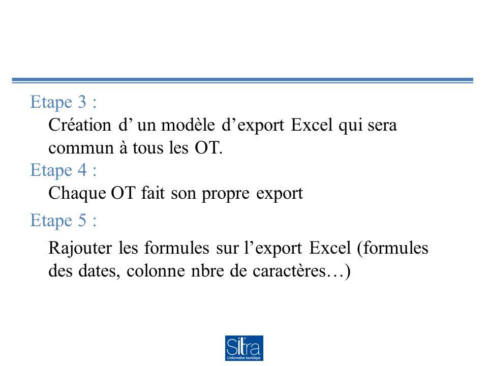 Etape 3 : Création d un modèle dexport Excel qui sera commun à tous les OT. Etape 4 : Chaque OT fait son propre export Etape 5 : Rajouter les formules