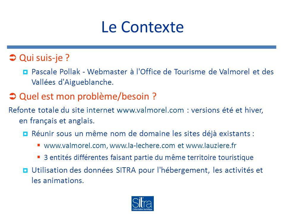 Le Contexte Qui suis-je ? Pascale Pollak - Webmaster à l'Office de Tourisme de Valmorel et des Vallées d'Aigueblanche. Quel est mon problème/besoin ?