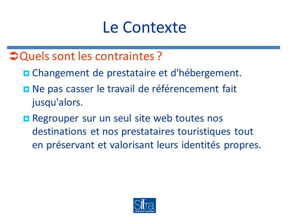 Le Contexte Quels sont les contraintes . Changement de prestataire et d hébergement.