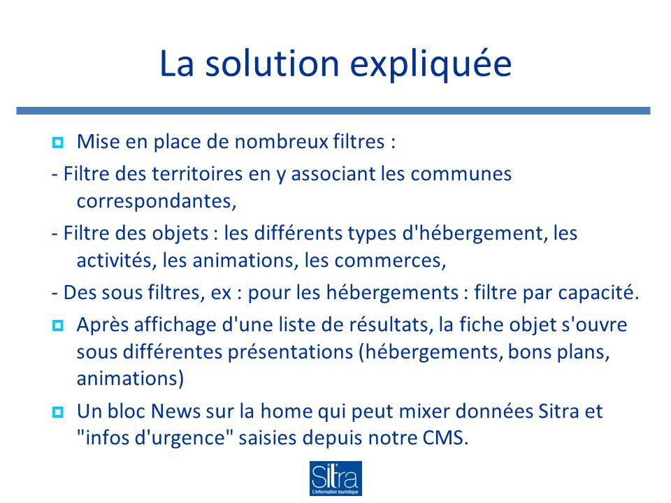 La solution expliquée Mise en place de nombreux filtres : - Filtre des territoires en y associant les communes correspondantes, - Filtre des objets :