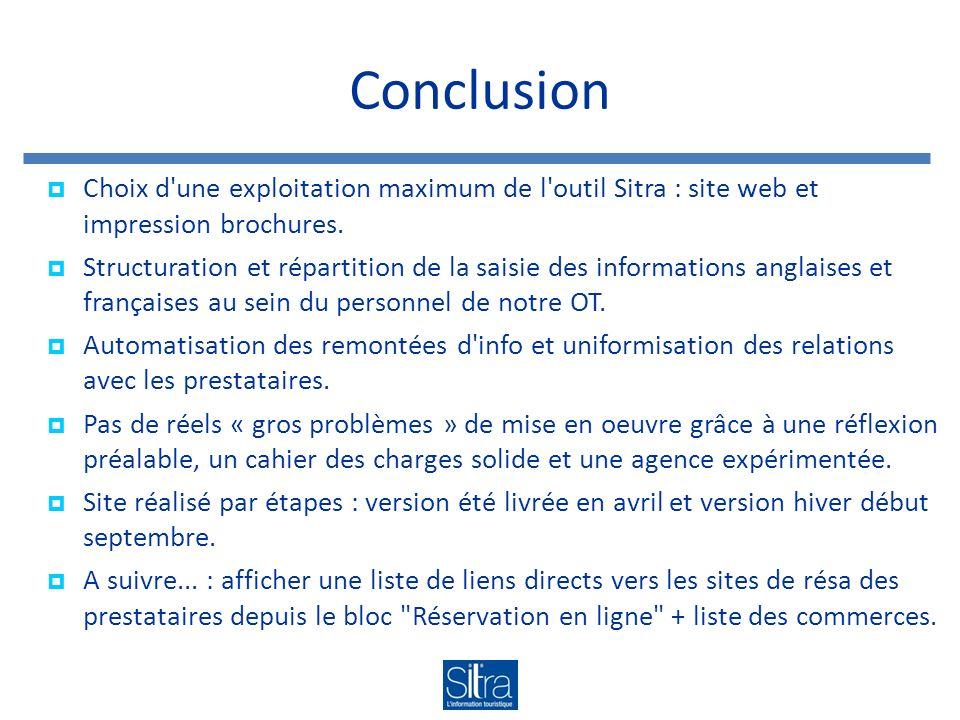 Conclusion Choix d'une exploitation maximum de l'outil Sitra : site web et impression brochures. Structuration et répartition de la saisie des informa