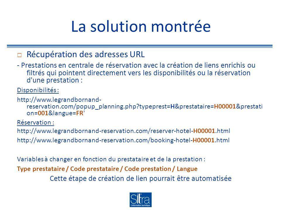 La solution montrée Règles de saisie et saisie dans SITRA Dans l onglet « Réservation » utilisation du champ « Compléments » pour spécifier la fonctionnalité du lien